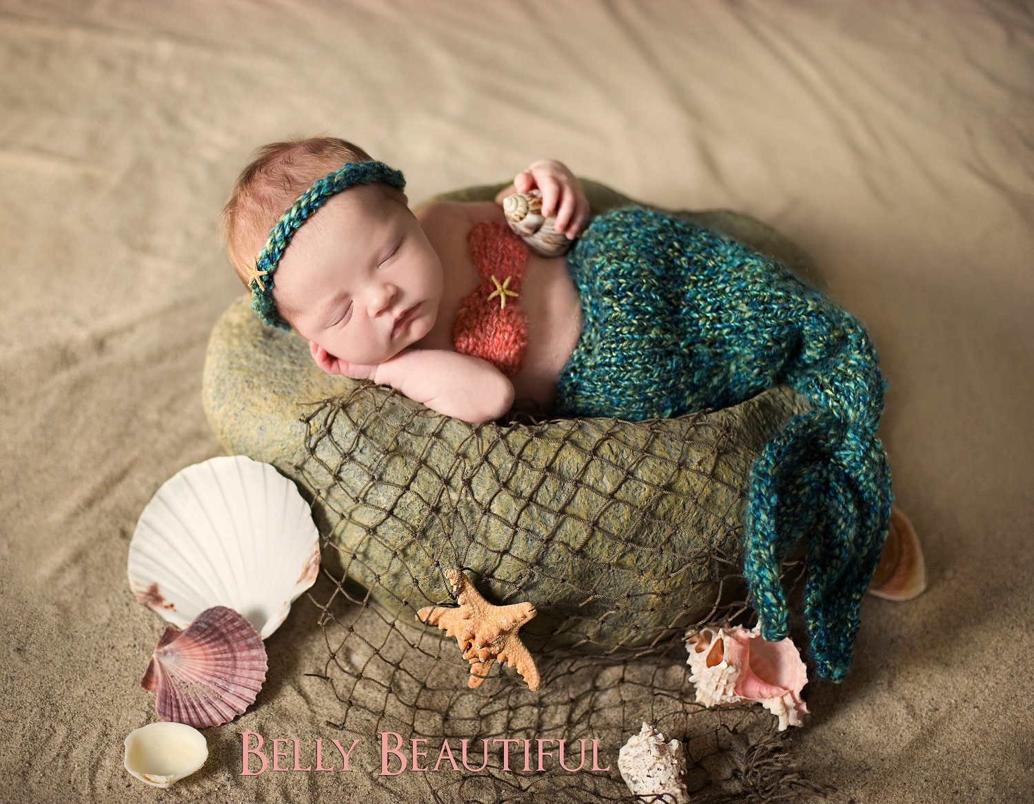 Knitting Pattern For Baby Mermaid Blanket : Part of Your World Mermaid Set Knitting Pattern by MelodysMakings