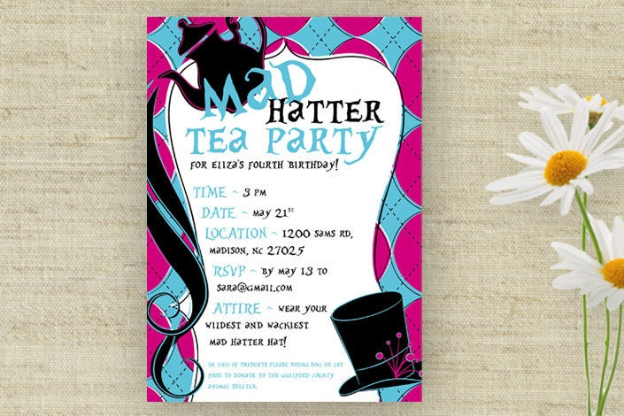 mad hatter tea party invitation wording
