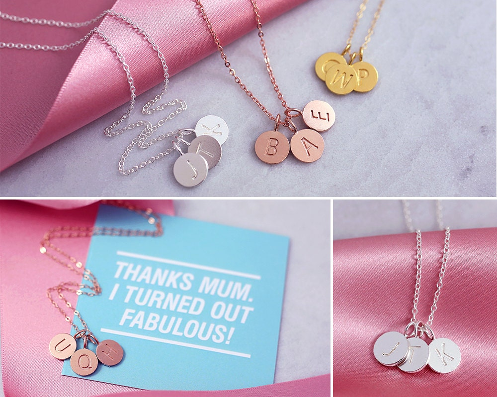 Disc Necklace  Funny Card for Mom  14k Initial Necklace  Mommy Jewelry Gift  Dainty Thin Chain  Letter Necklaces  Funny Love Card
