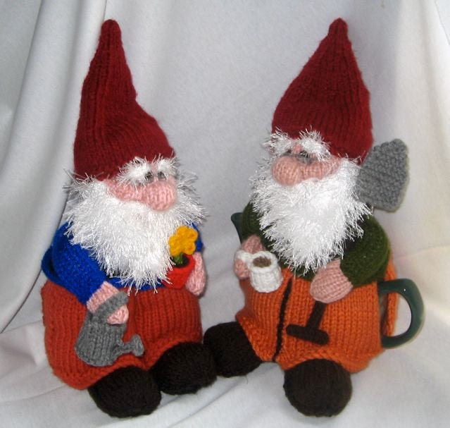 Knitting Patterns For Toys On Etsy : Gnome Tea Cosy and Toy Gnome KNITTING PATTERN by RianAnderson