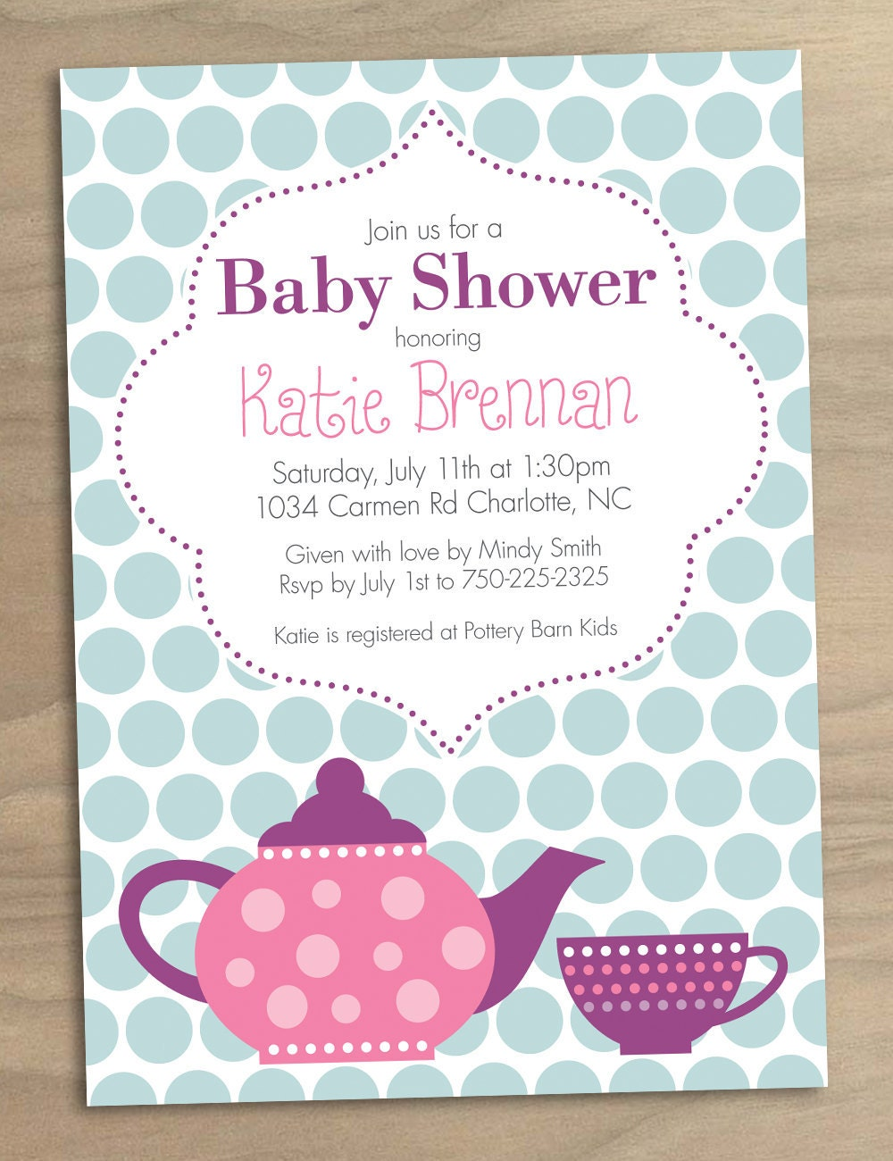 baby shower invitation or bridal shower by designandlife on etsy