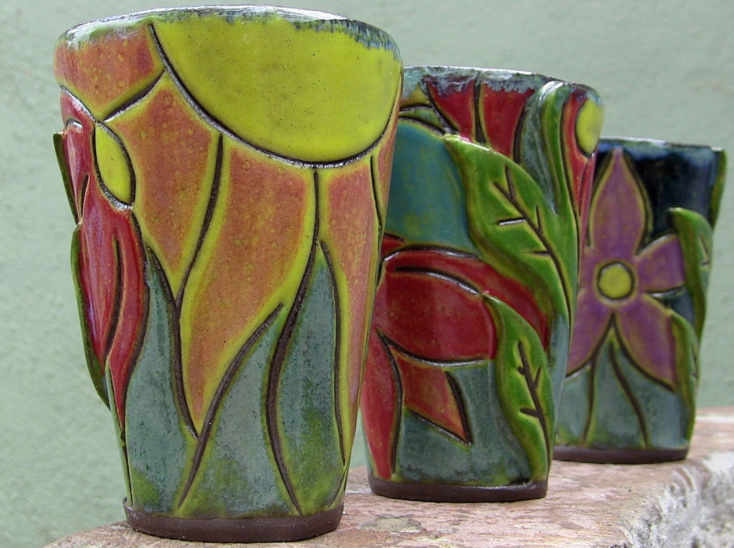 Ceramic Tumbler Cup - Small - Children's Pottery - Flower 'Mosaic' - Easter / Spring - SeedlingClayworks