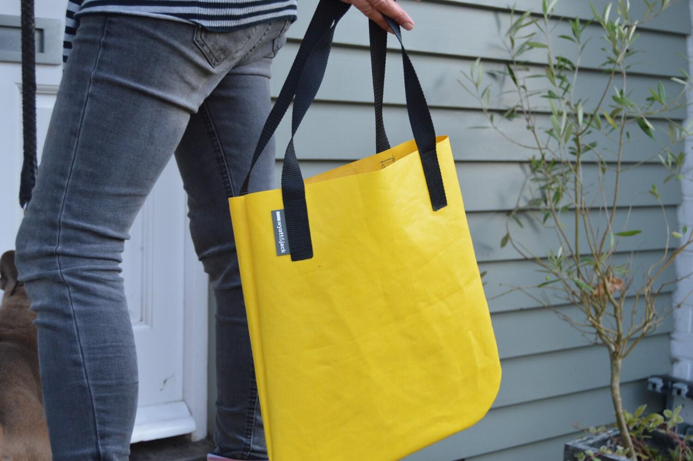 Handmade in UK Yellow Recycled Bouncy Castle Vinyl PVC Tote Shopper Shoulder Bag