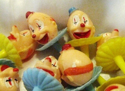 Vintage 60s Wilton Clown Head Cake Picks Lot of 24