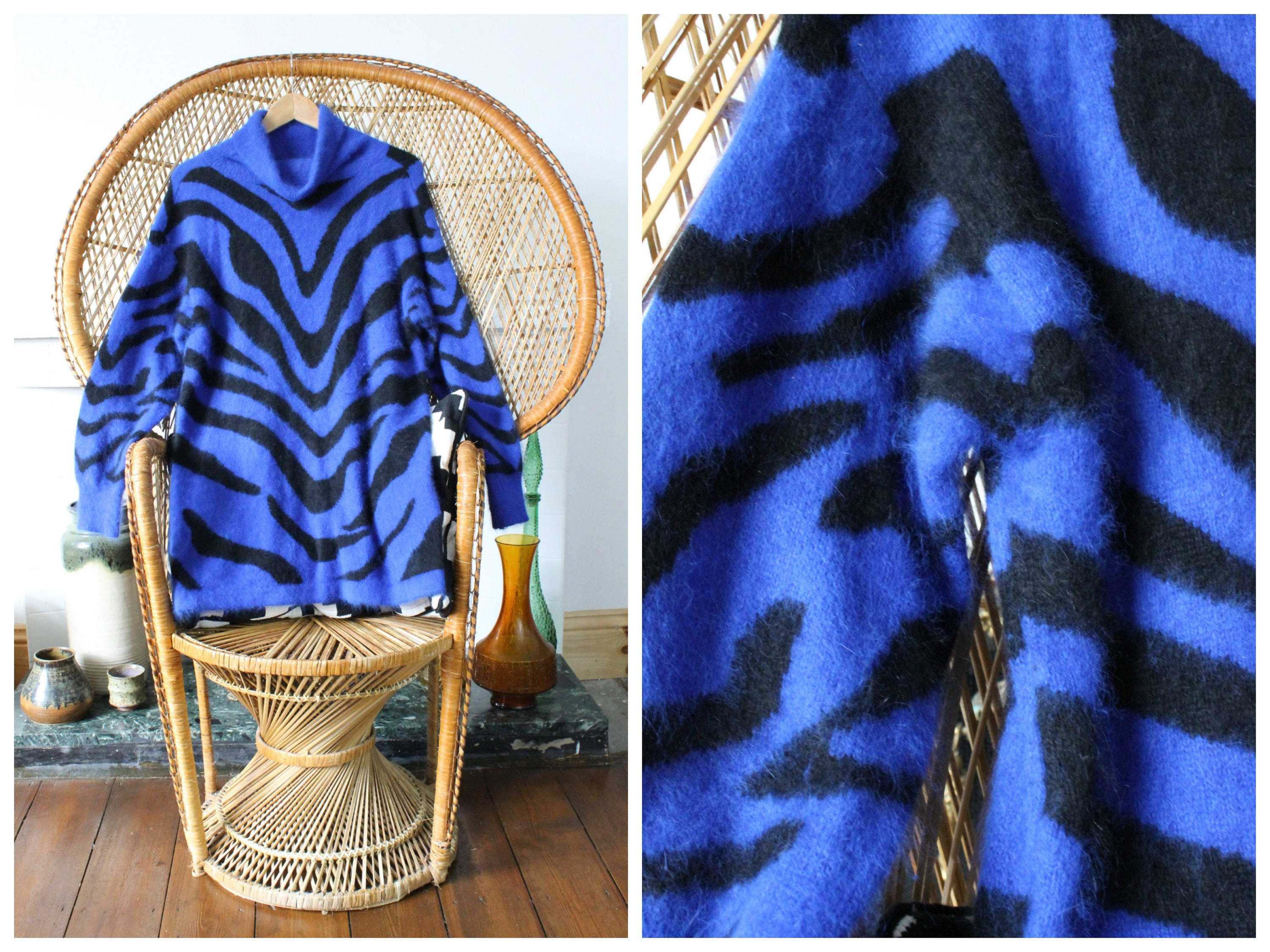 Vintage 90s Soft Blue and Black Angora Wool Knit Psychedelic Stripy Oversized Long Turtleneck Sweater Pullover Jumper Size Large UK 16