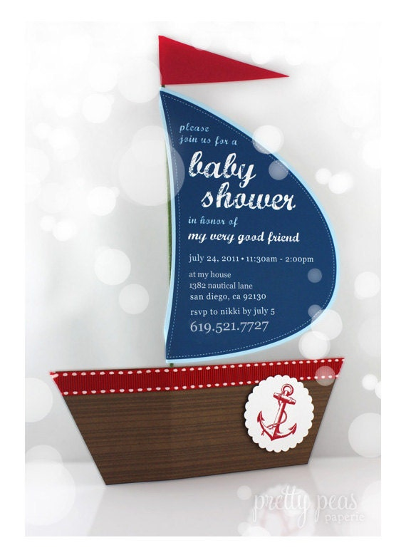 Baby shower ideas for boys decorations sports - Items Similar To Diy Nautical Baby Shower Invitation Printable Pdf