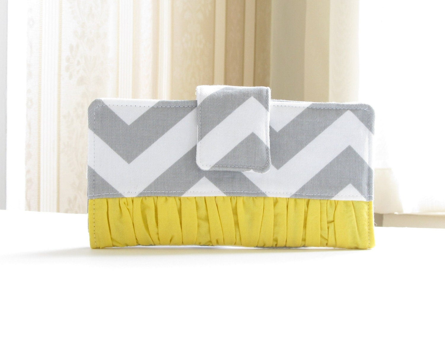 Women's Wallet, Gray and Yellow Chevron Bifold Wallet with Rouching, Cottage Chic Wallet - Made to Order - AccessoriesByBethany