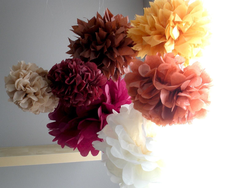 THANKSGIVING FALL THEME...tissue paper pom poms...7 pom poms...fall theme - SimplyNesting