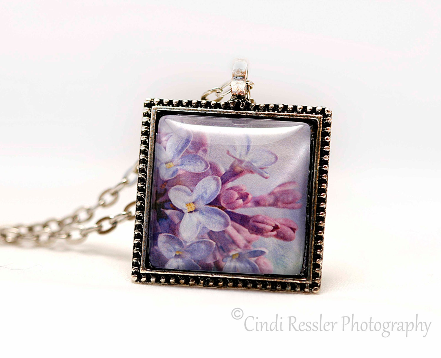 Lilac Photo Pendant, Photo Jewelry - CindiRessler