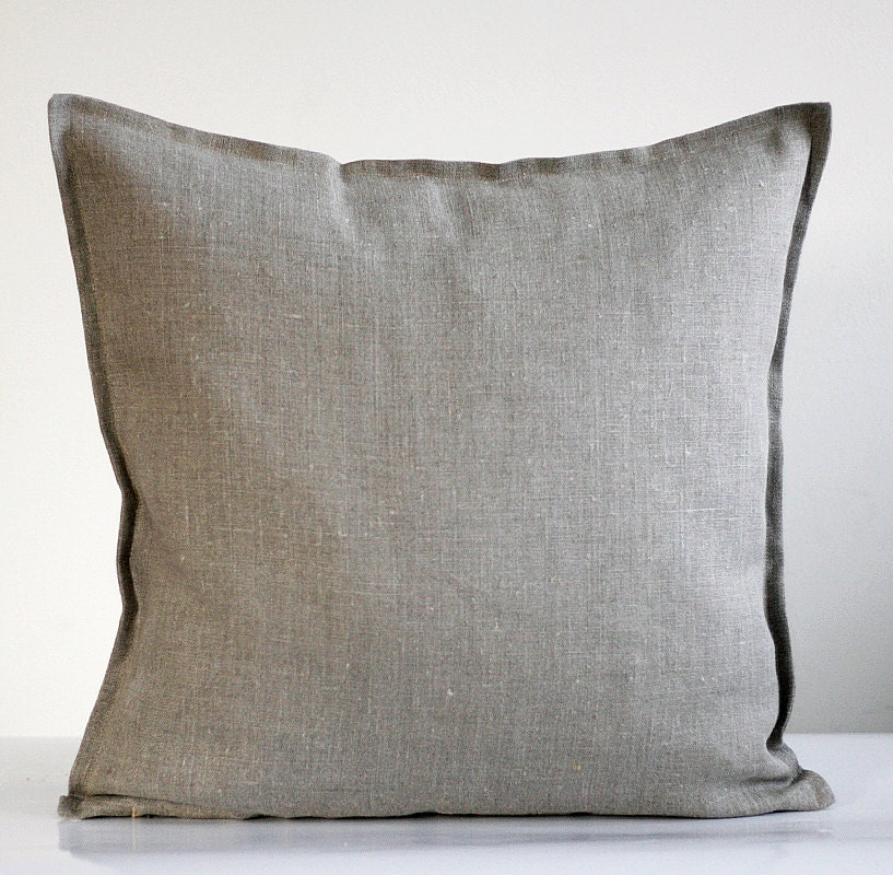 Throw Pillow Insert Cover : Natural Linen pillow cover grey decorative covers by pillowlink