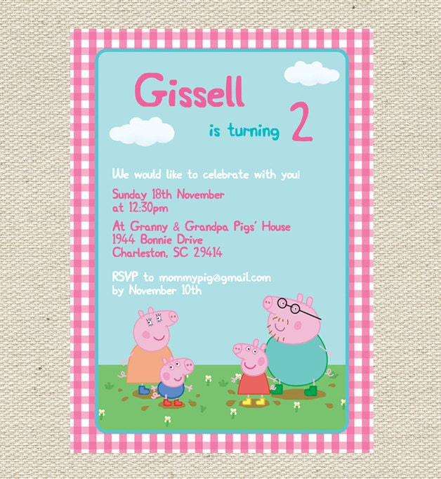 Epic image in peppa pig printable invitations