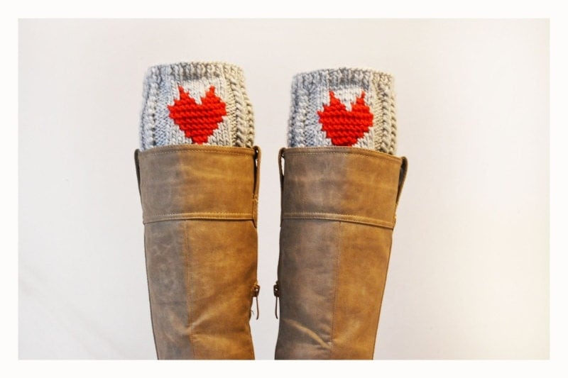 Grey Boot Cuffs with heart ,Women Leg warmers , Hand knit leg warmers , Valentine gift - ilovemyyarn