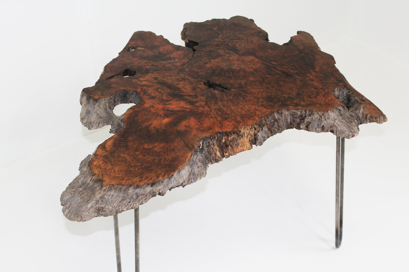 Live Edge Redwood Burl Slab Coffee Table By MtHoodWoodWorks