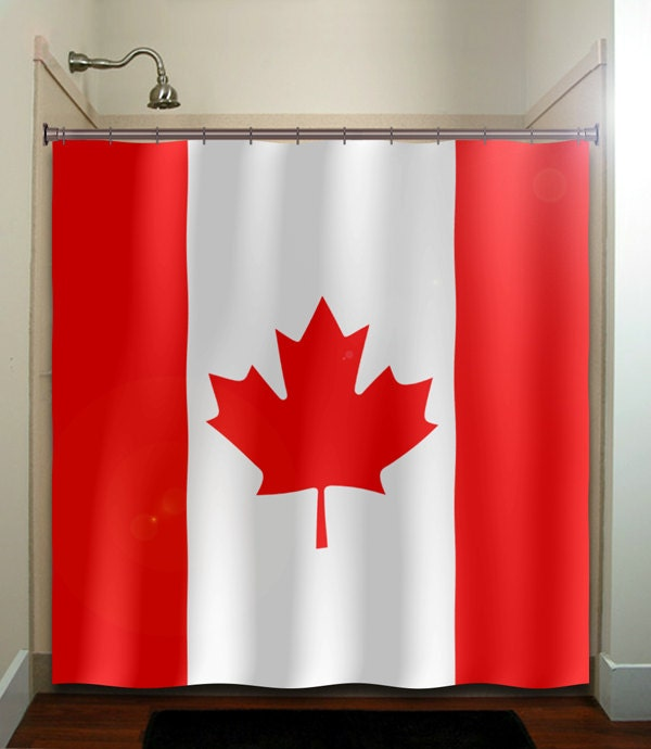 Red Maple Leaf Canada Flag Shower Curtain By TablishedWorks