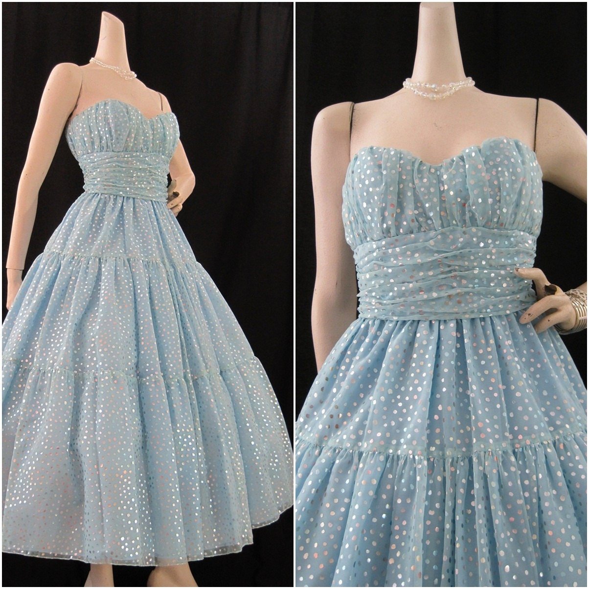 80s Prom Dress Vintage Blue Cinderella Strapless By