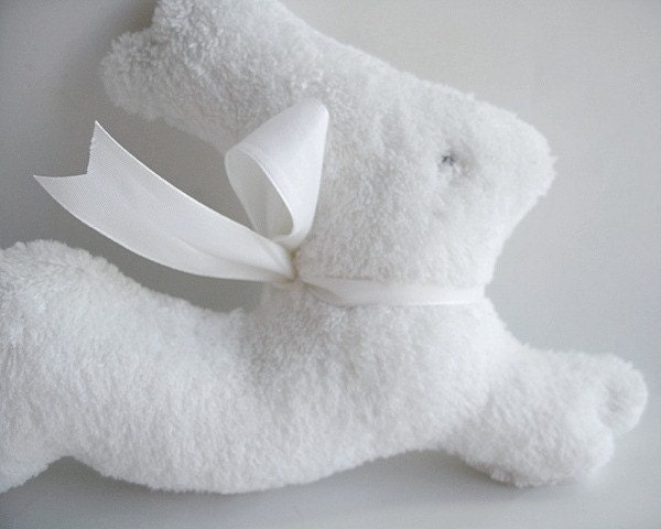 Pure white Bunny soft rattle lovey - BareSockcrafts