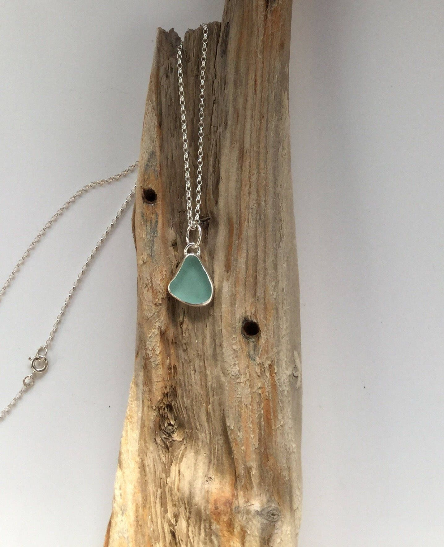 Turquoise Seaglass Necklace Seaglass Necklace Sea Glass Jewelry Turquoise Seaglass Pendant Sea Glass Pendant