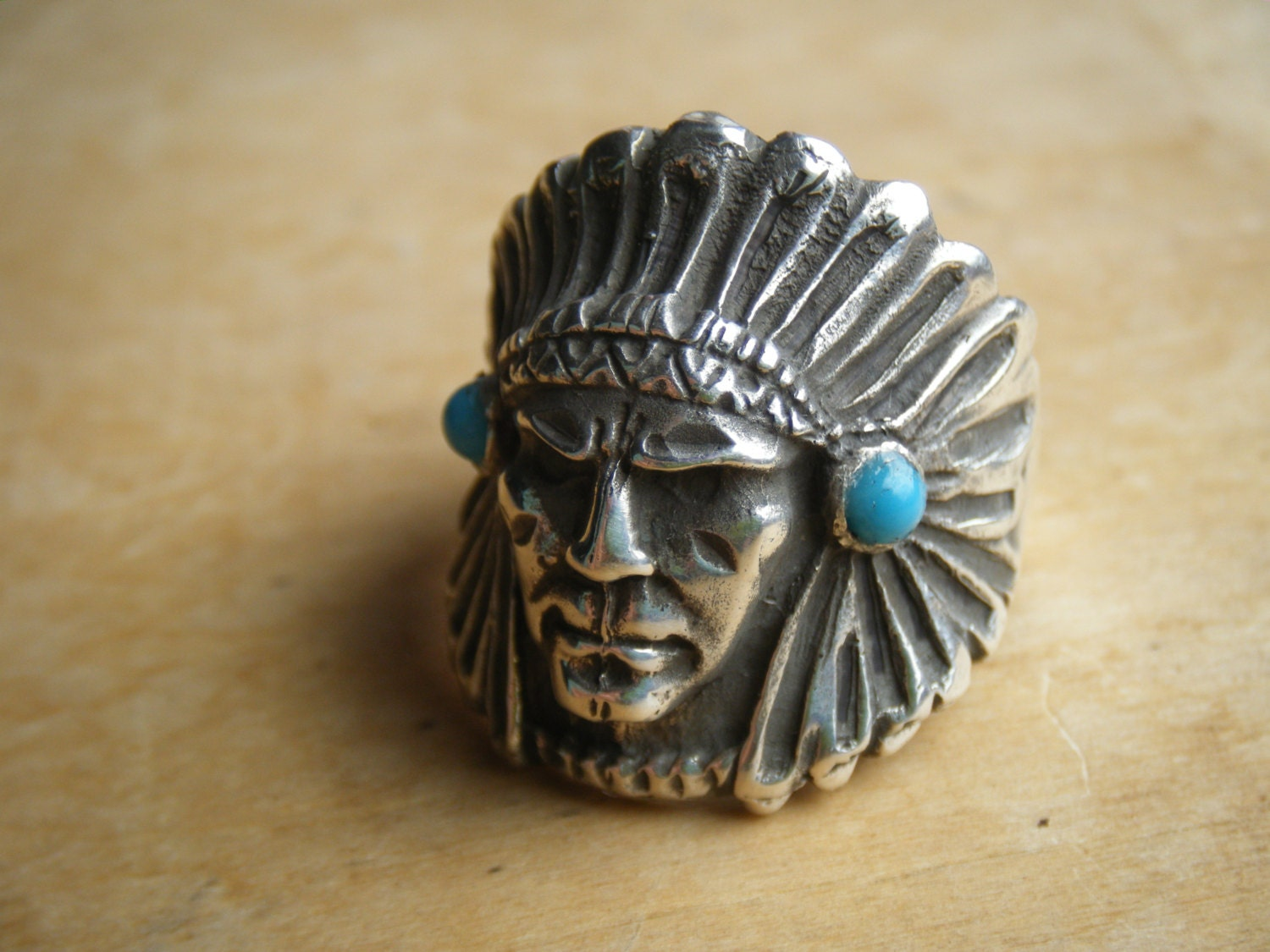 INDIAN CHIEF Ring Signed Southwest sterling silver TURQUOISE Native American Indian Zuni Navajo vintage