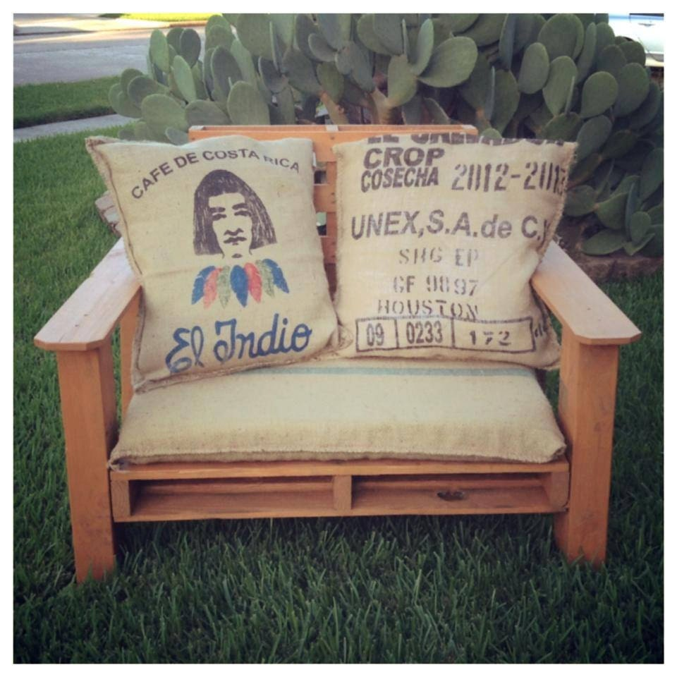 items similar to handmade pallet patio chair with burlap