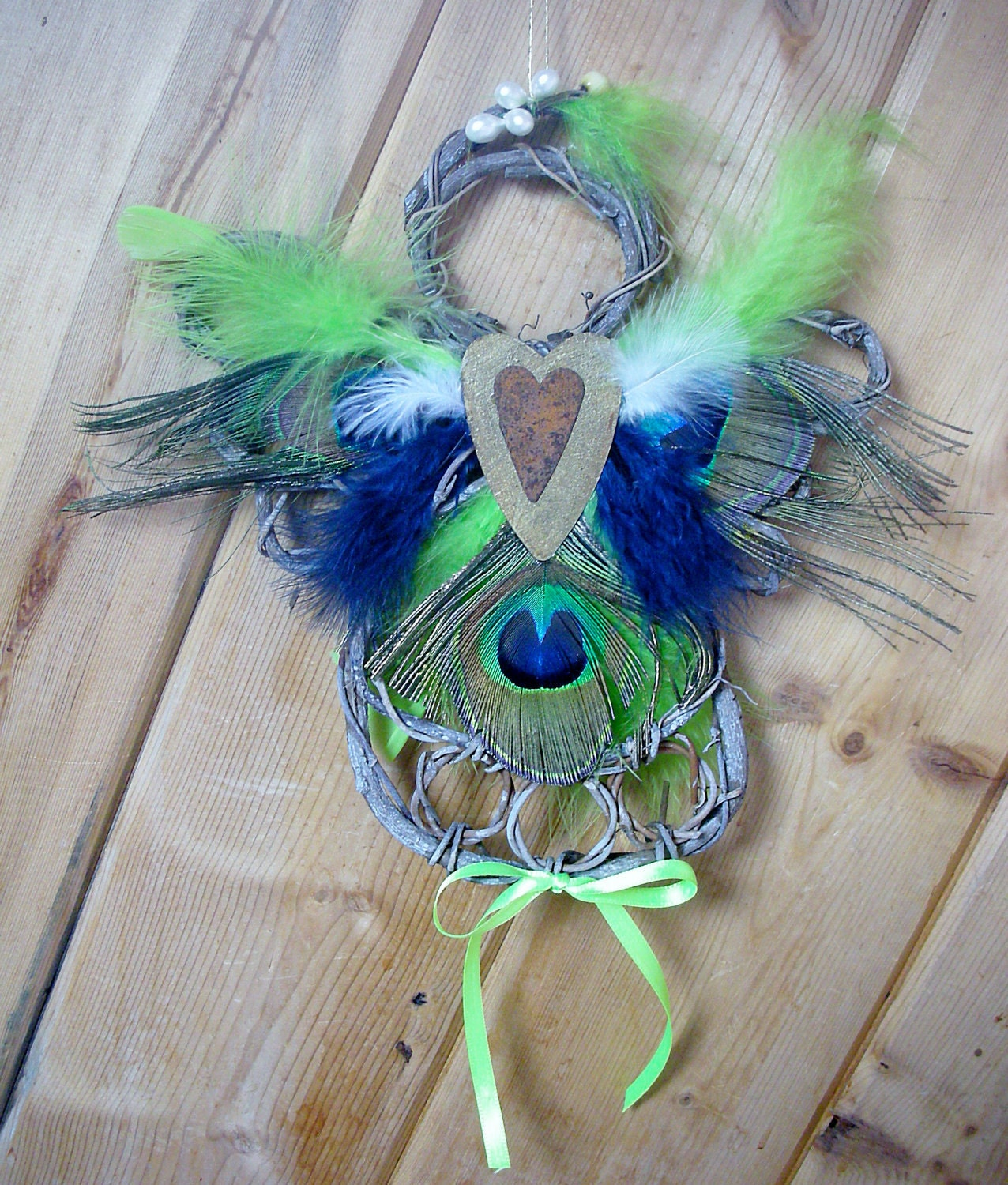 Wreath Angel Peacock Feathers Door Or Wall Decor By