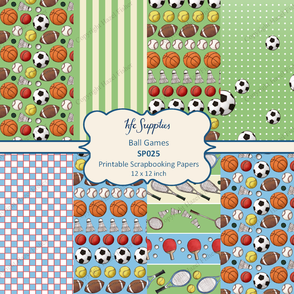 Ball games sport themed printable scrapbooking by hfcsupplies for Themed printer paper