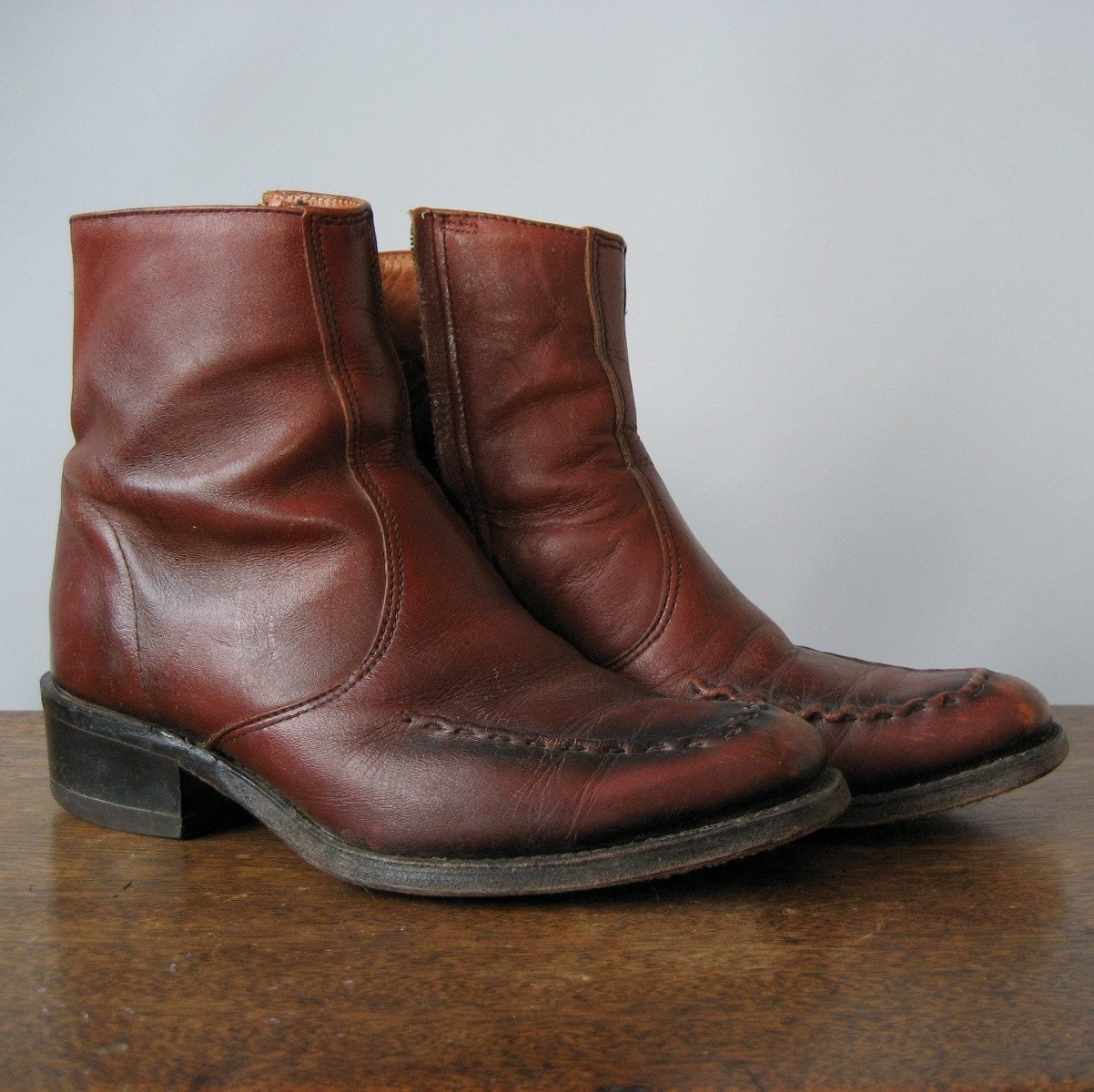 70s western ankle boots mens 8 by nakedvintage on etsy