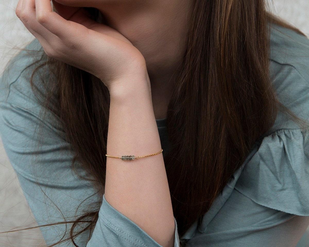 Aquamarine bracelet petite birthstone bracelet March birthday gift dainty bracelet blue gemstone  Martha