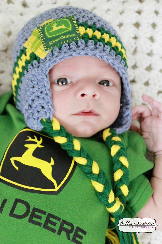 Deere Infant Hat Crochet Pattern : Crochet John Deere Baby Hat by gammyshouse on Etsy