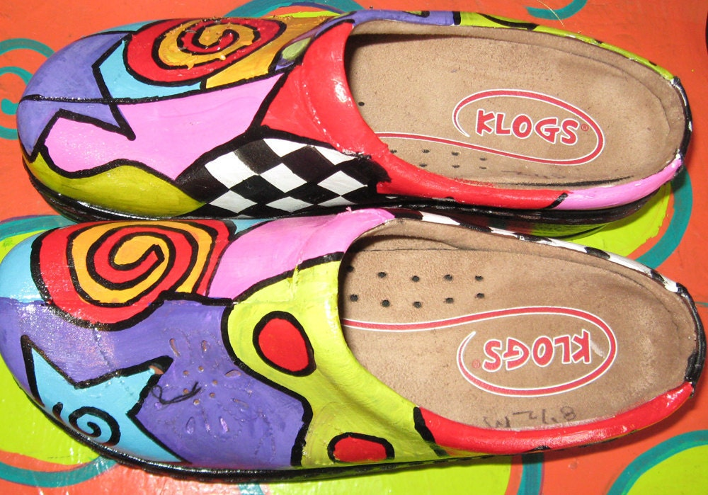 Hand painted leather Klog Shoe size 81/2
