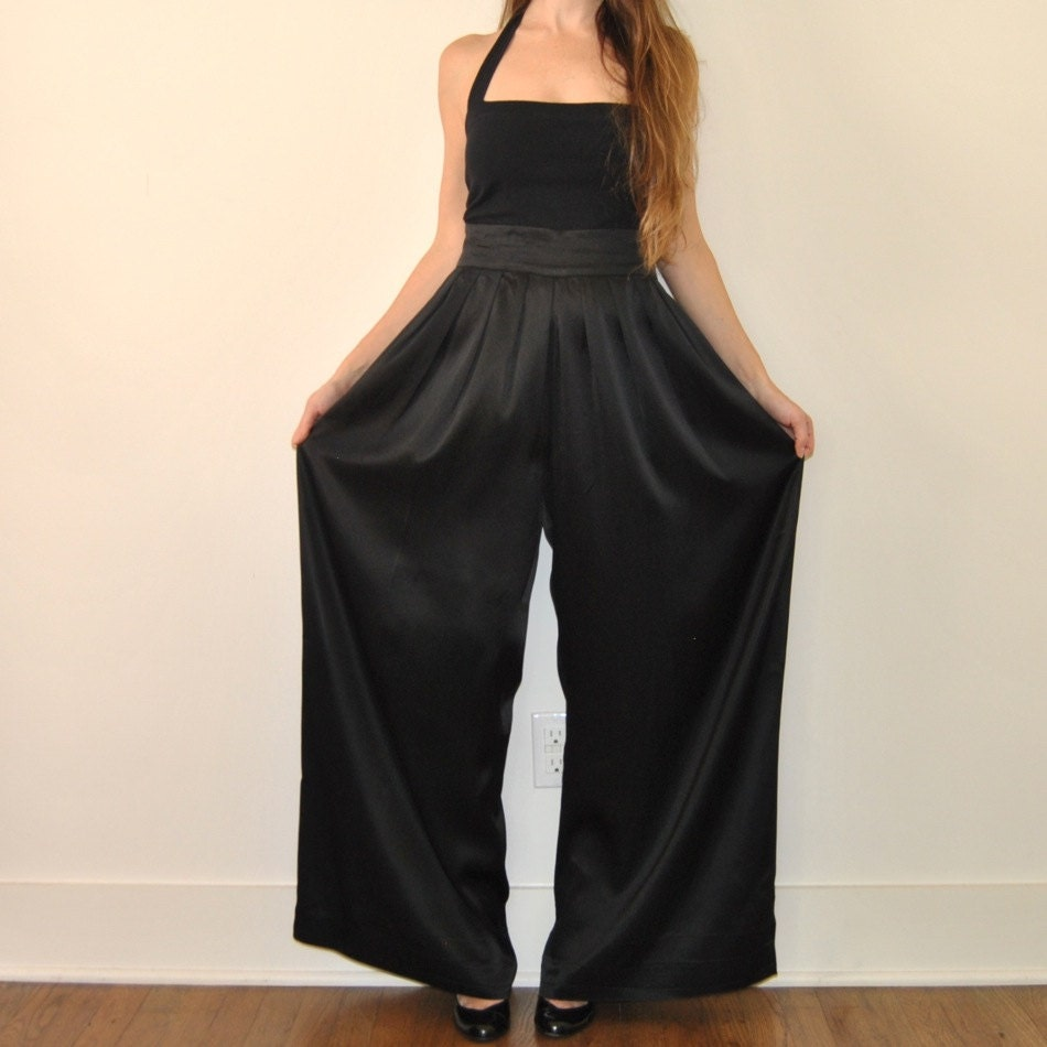 High Waist Palazzo Pants Black Flowy Wide Leg By Jacknboots