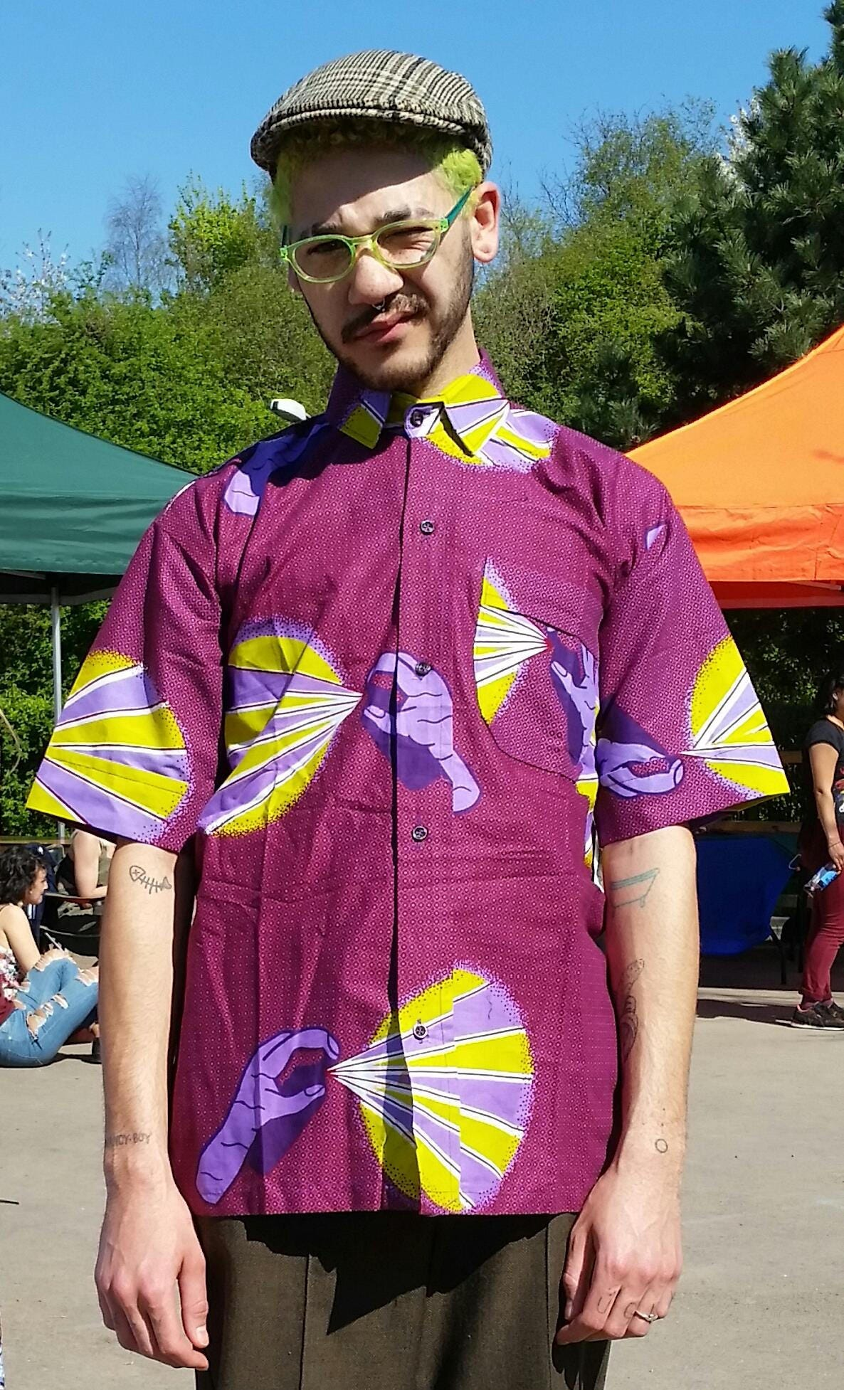 Midnight Mischief purple shirt  African mens shirt  African clothing  Festival shirt  Colourful top  Street Art  Graffiti