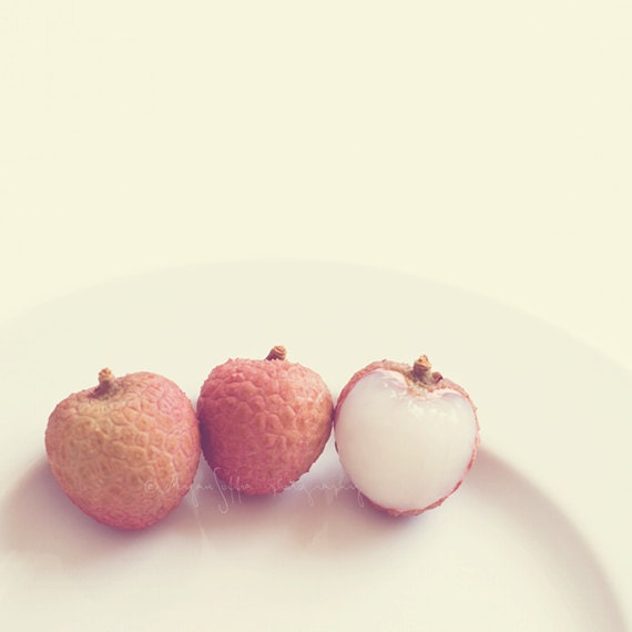 still life photography, food photograph, lychee fruit photo, three lychees kitchen art, melon peach pink, baby nursery decor, art print - sixthandmain