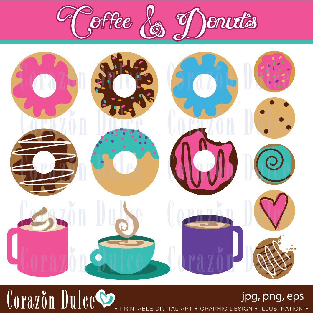 INSTANT DOWNLOAD  Donuts and coffee- Personal and Commercial Use Clip Art - corazondulce
