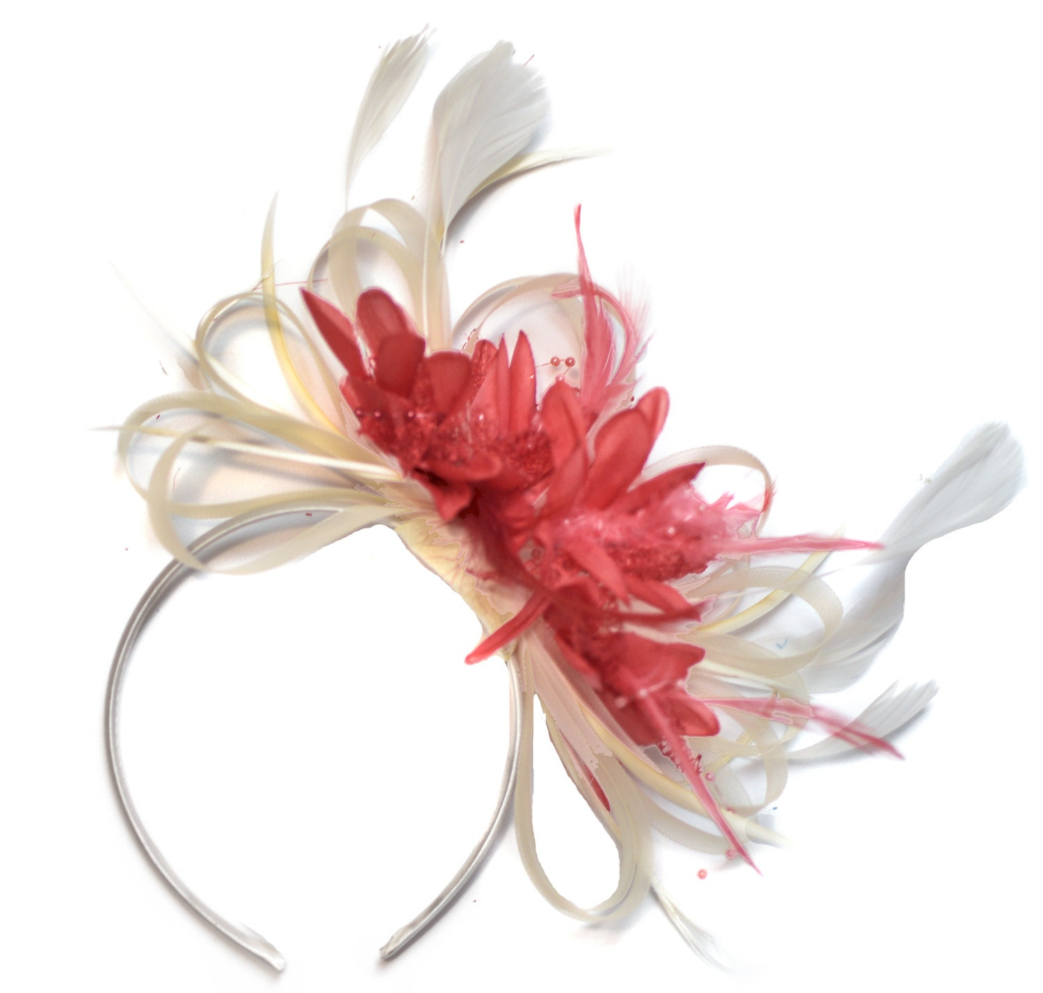 Cream and Coral Pink Fascinator on Headband Alice Band UK Wedding Ascot Races Derby