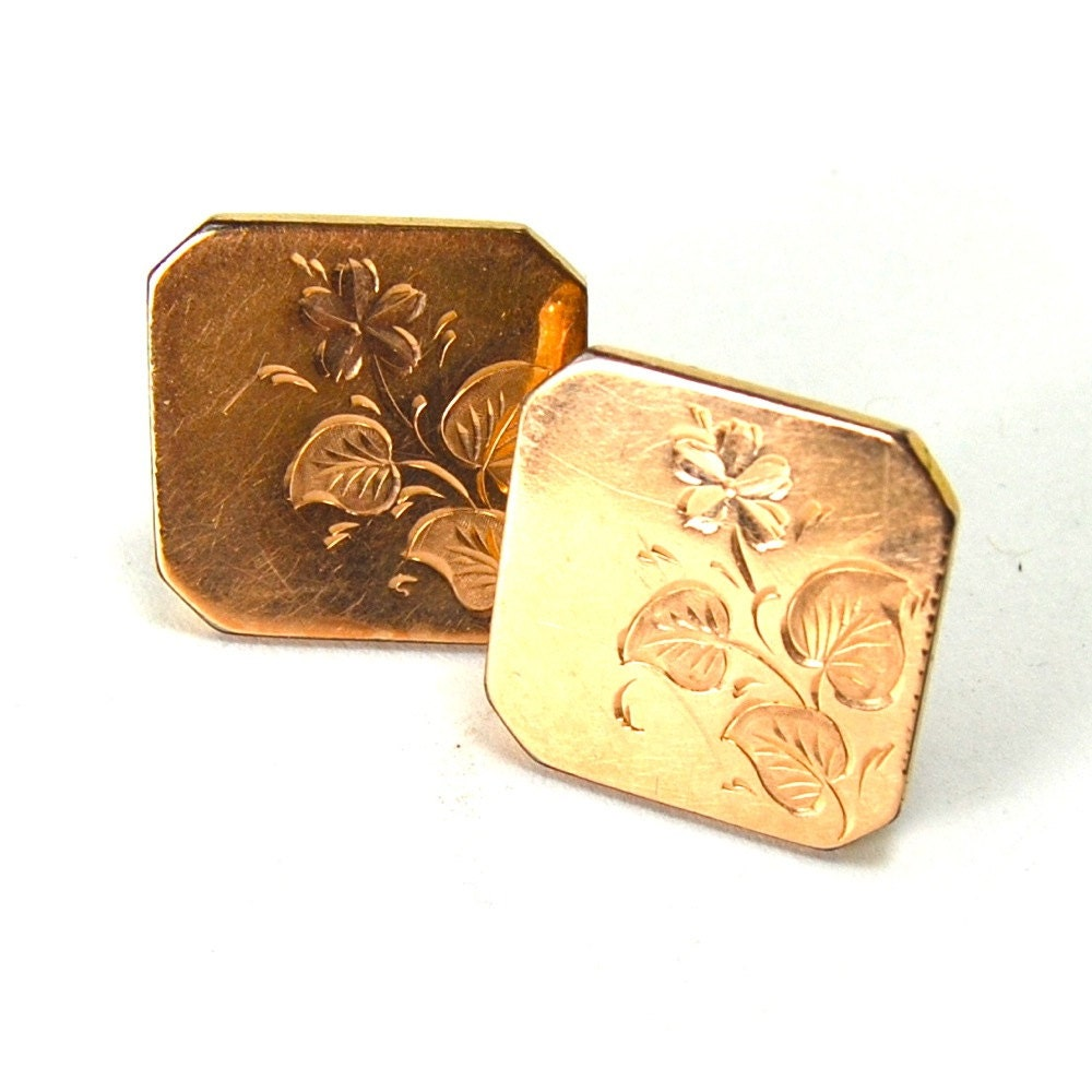 Victorian Cuff Links 12 Karat Gold Fill with Violet Floral Spray Flourish Engraving CIRCA 1880