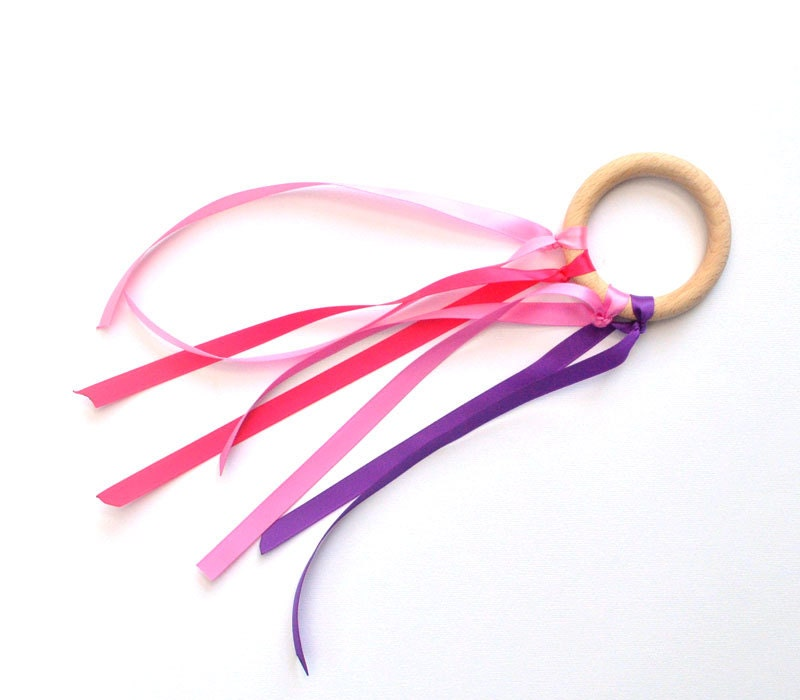 4 Ribbon Waldorf Dancing Wooden Fairy Ring with pink and lavender . BEACH, Wedding, children Birthday Party Favor