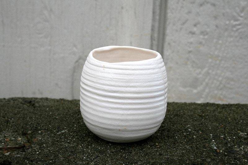 Translucent porcelain tea light holder/ vase, contemporary home decor, bath, spa candleholder. - GolemDesigns