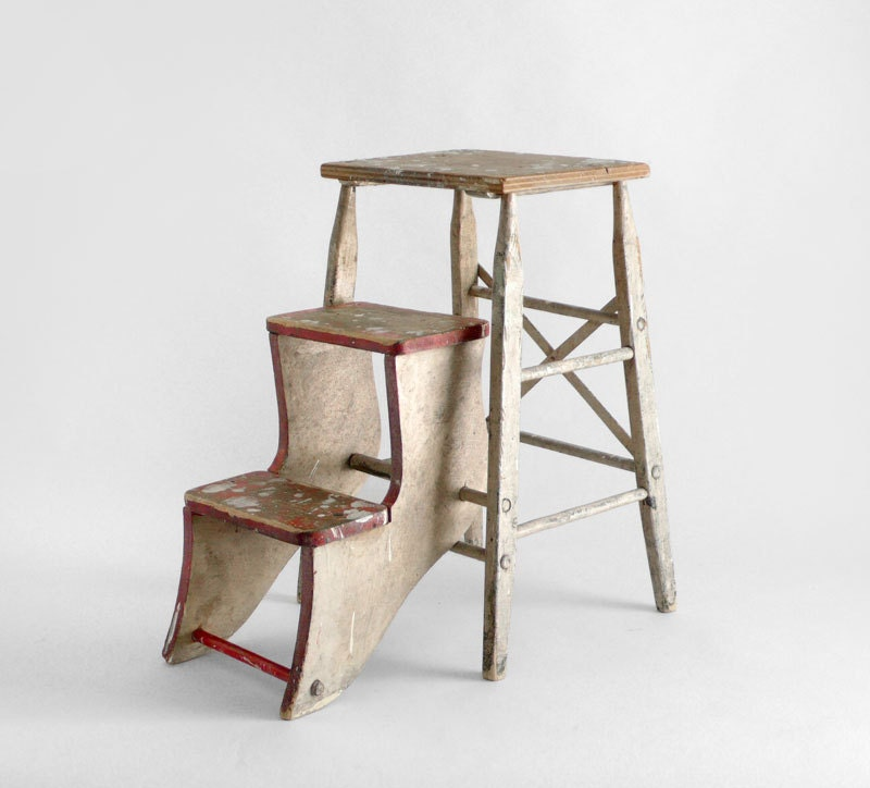 Items Similar To Vintage Step Ladder Kitchen Library