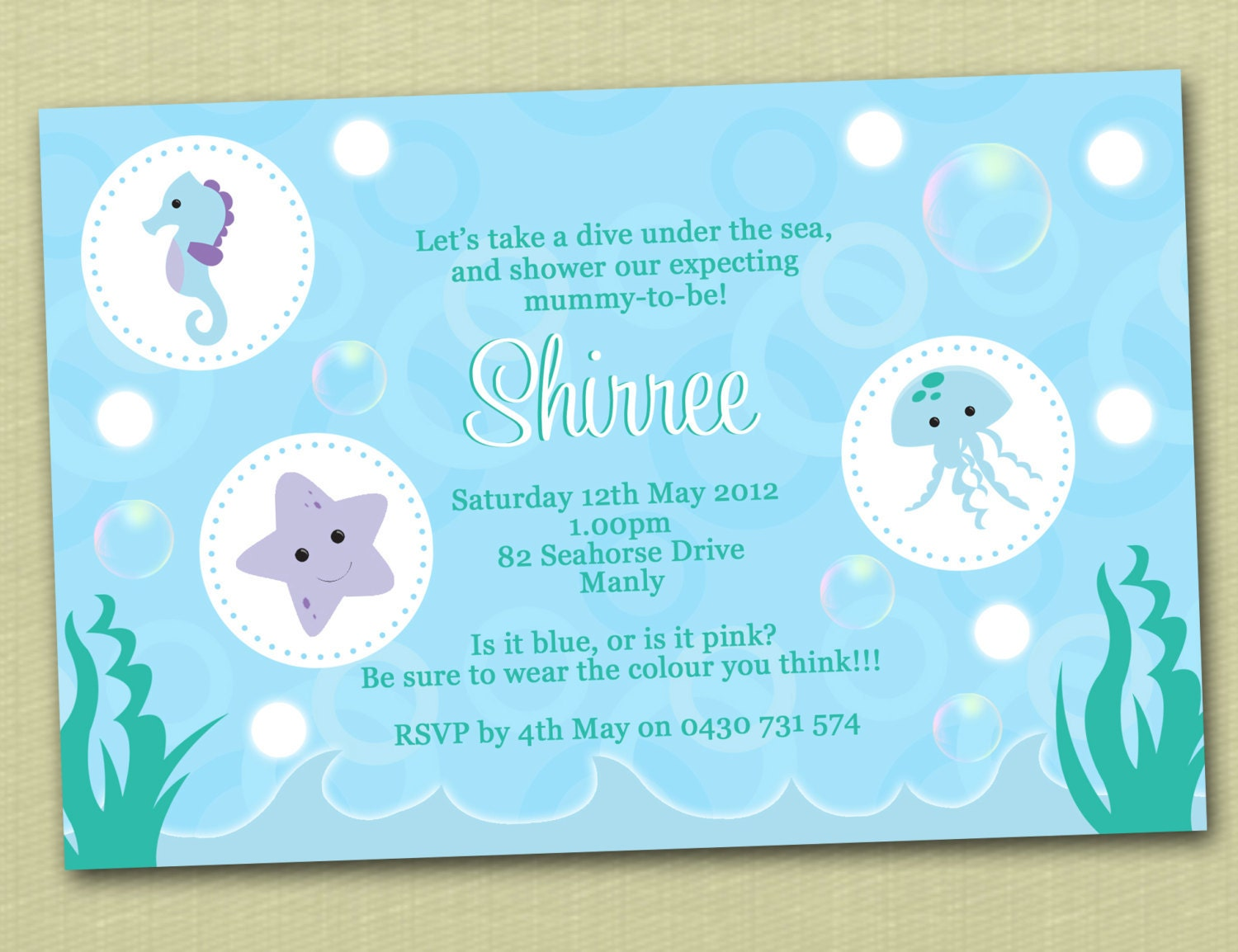 personalised under the sea baby shower invitations by deezeedesign