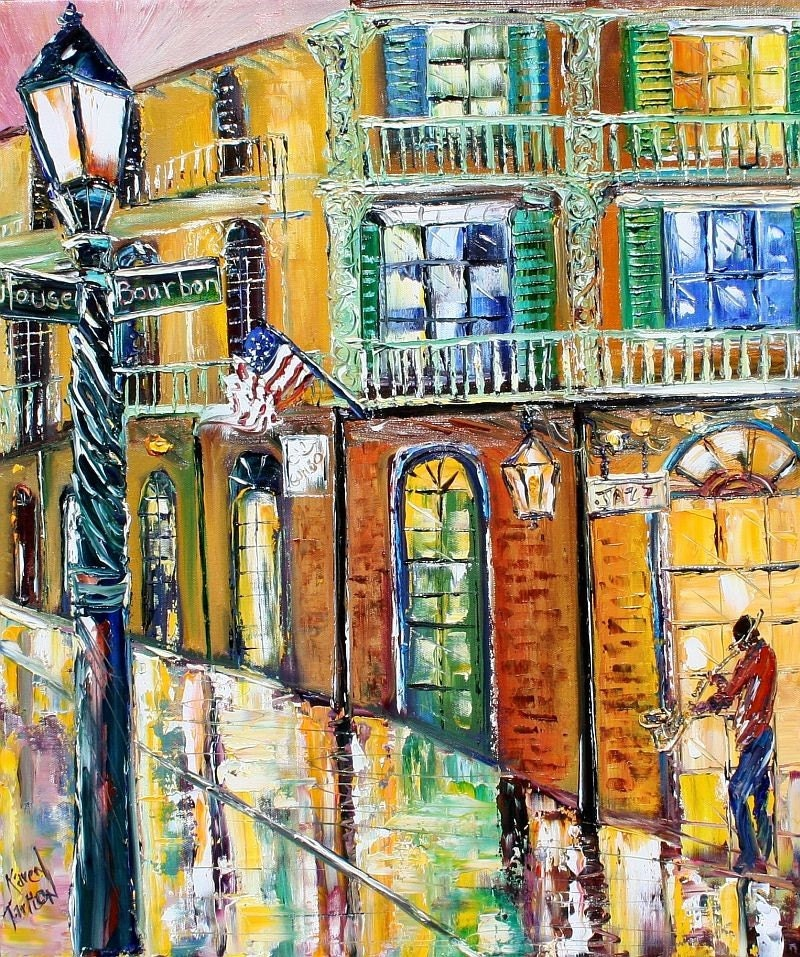 LIMITEDED Edition fine Art Giclee Print New Orleans French Quarter modern impressionism palette knife