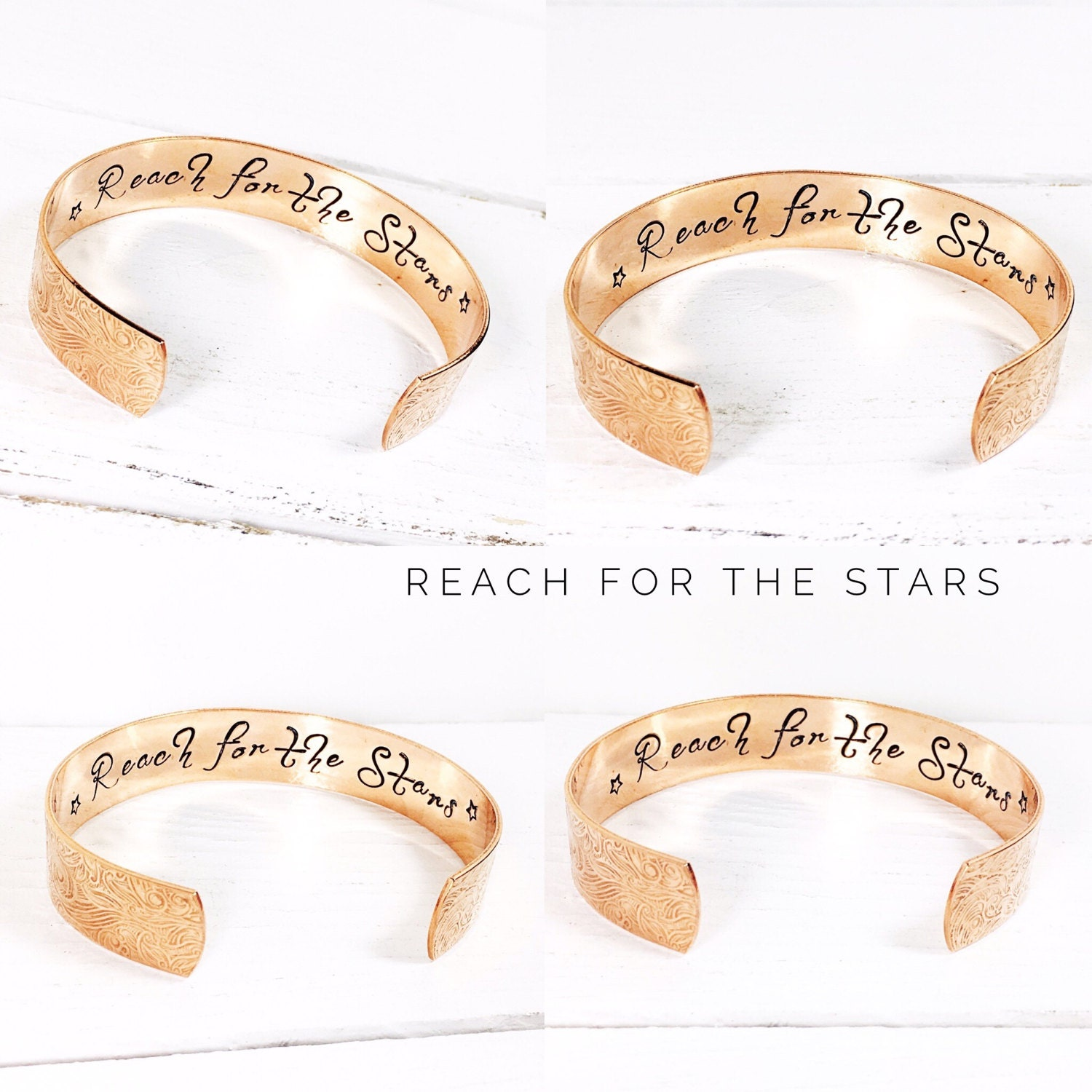 Womens gift  Personalized Jewelry Reach for the stars bracelet Rose Gold Floral Bracelet Gold Floral Bracelet Silver Floral Cuff (C163)