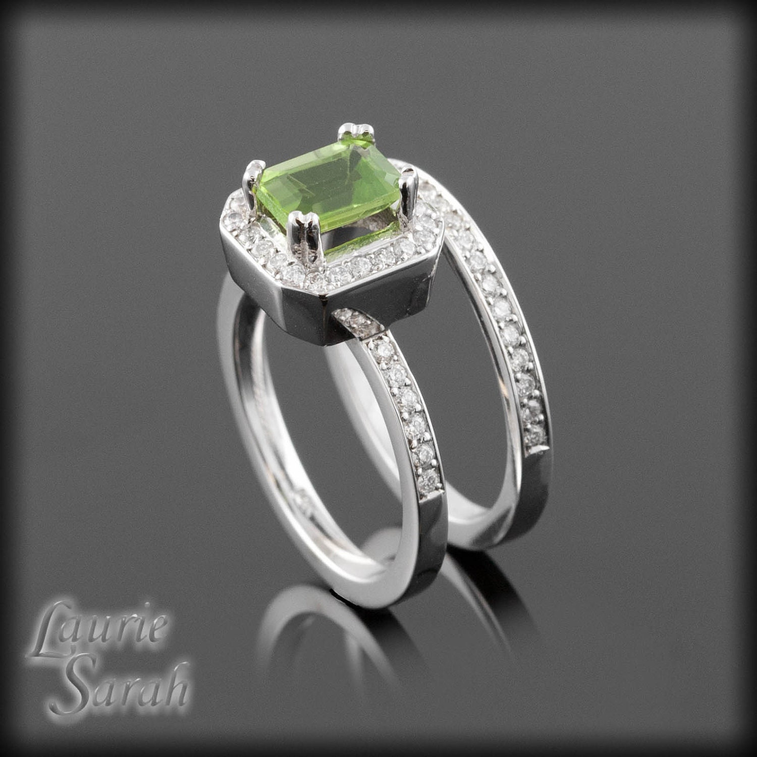 Peridot and diamond wedding ring set with by for Peridot wedding ring set