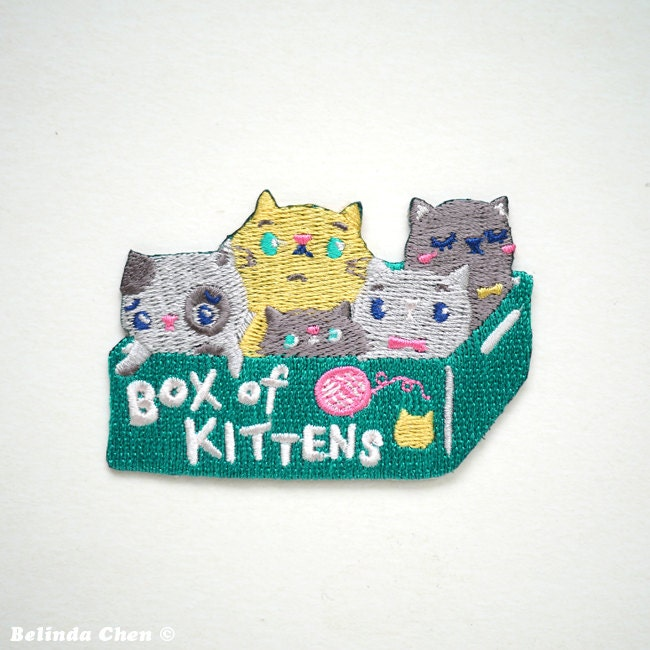 Box of Kittens Iron On Patch