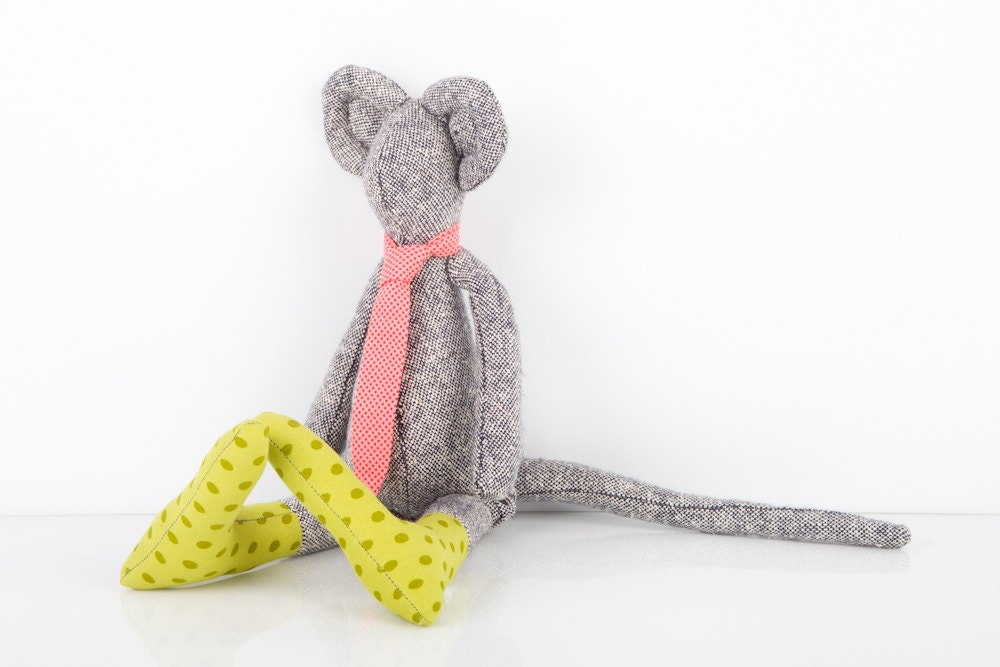 ooak city mouse Made from black and white pure silk wears Polka Dots green sockd ,and pink dotted tie ,hamdmade eco doll - TIMOHANDMADE