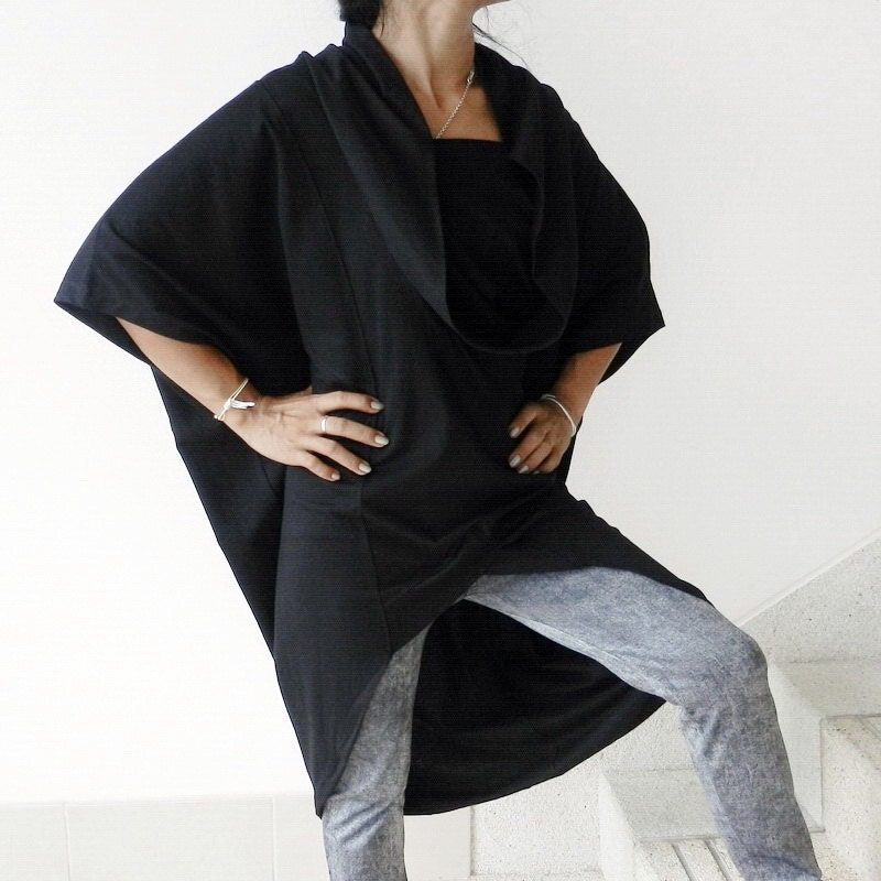 SALE 30 % Off Ladies Black Top,Tunic Double Neck - Unique Styling ,Cotton Jersey. - thaisaket
