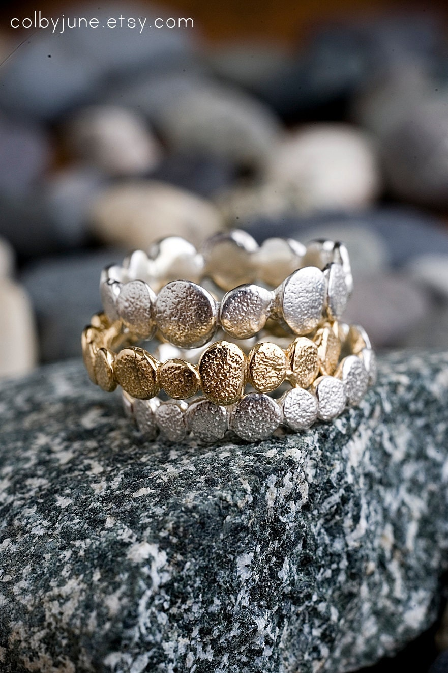 Silver Large Pebble Ring | Stacking Rings | Nature Inspired Ring - ColbyJuneJewelry