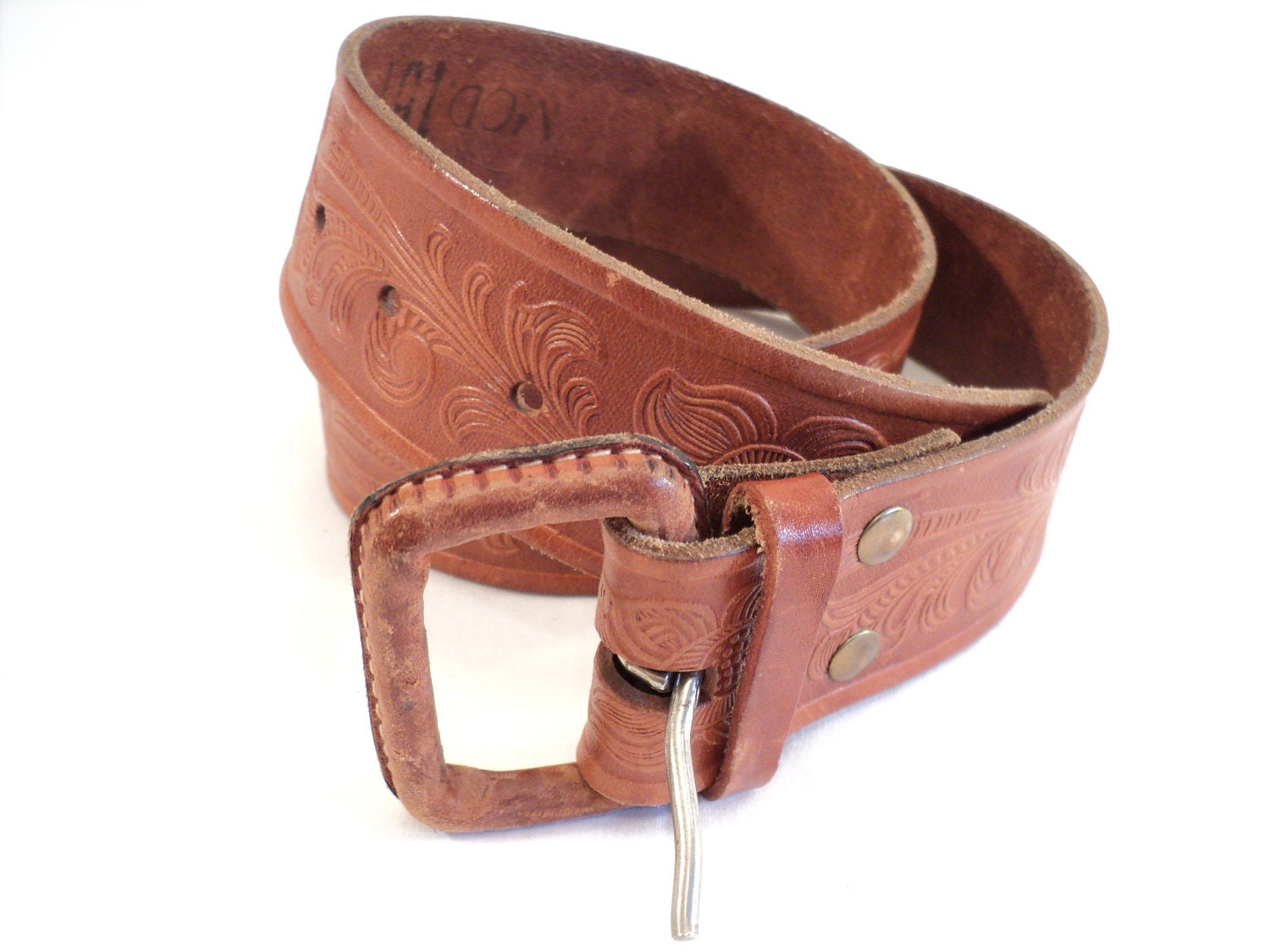 leather belt mexican tooled aged vintage brown by