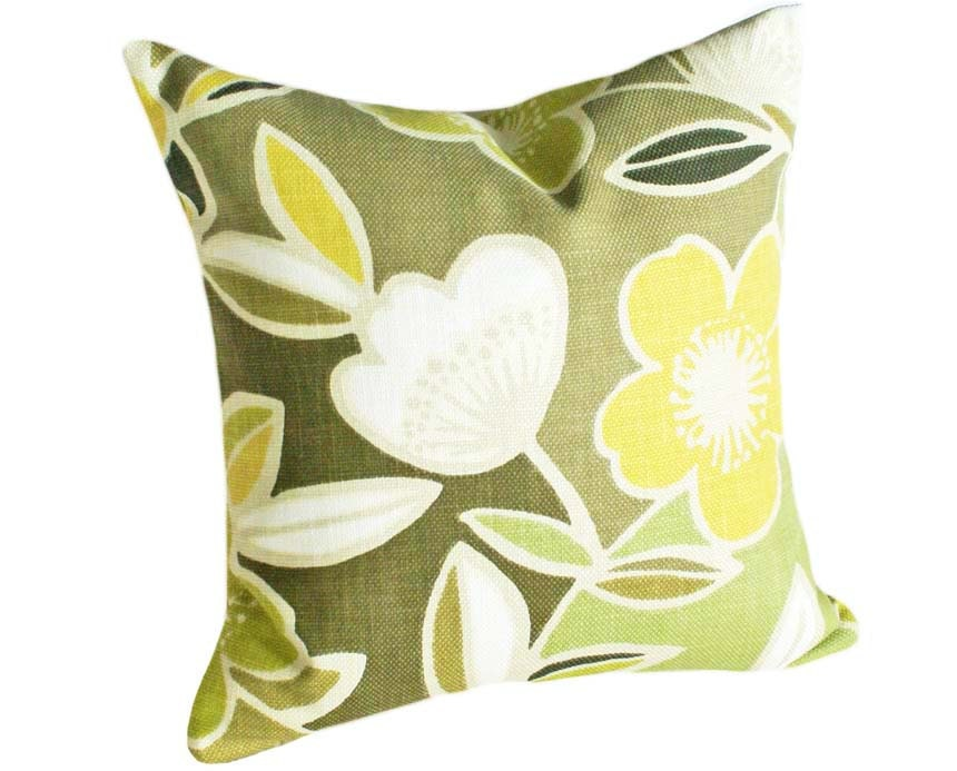 Green Throw Pillows Large Mod Flowers Floral by PillowThrowDecor