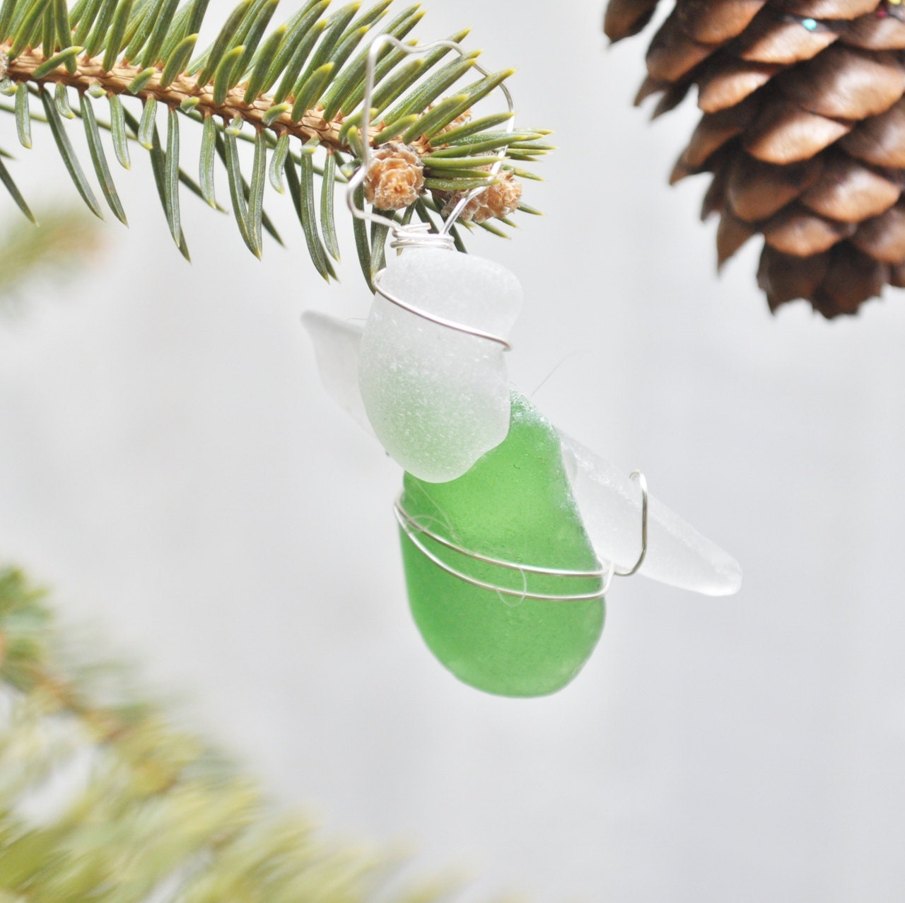 Seaglass Angel Christmas Ornament or Sun-catcher made with Green and White Seaglass - ShatteredSmooth
