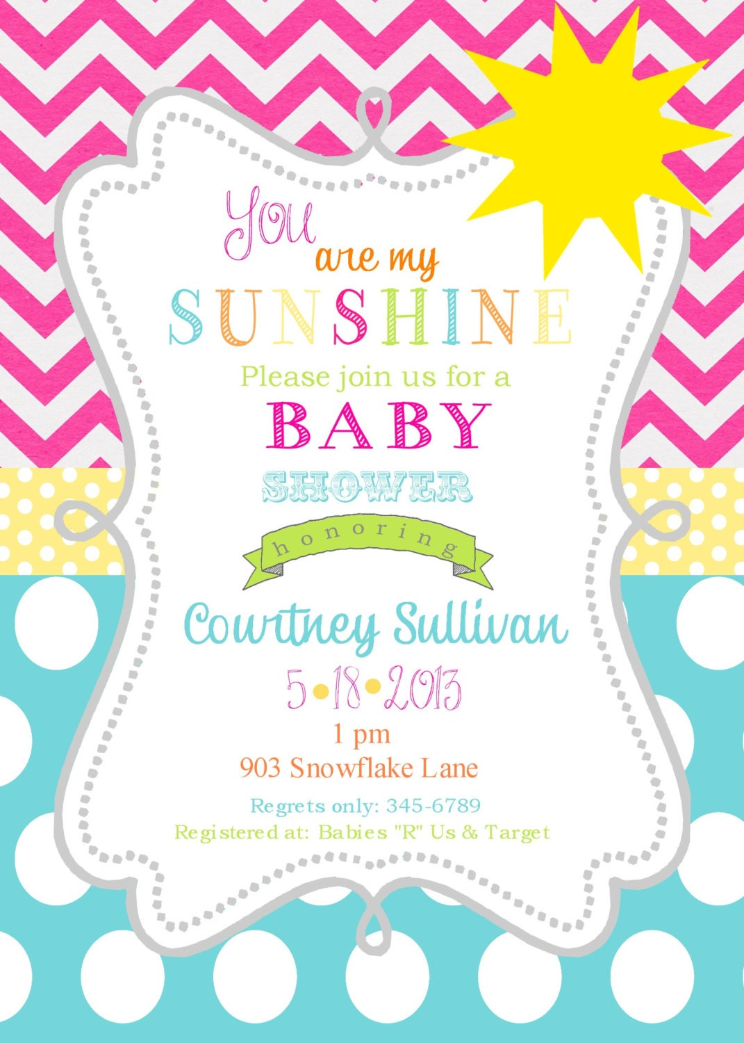 sunshine baby shower invitations printable or by noteablechic